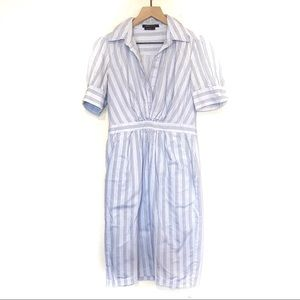 BCBG Max Azria Light Blue Pinstripe Shirtdress